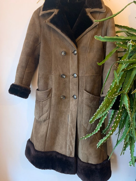 Vintage kids afghan suède sheepskin coat