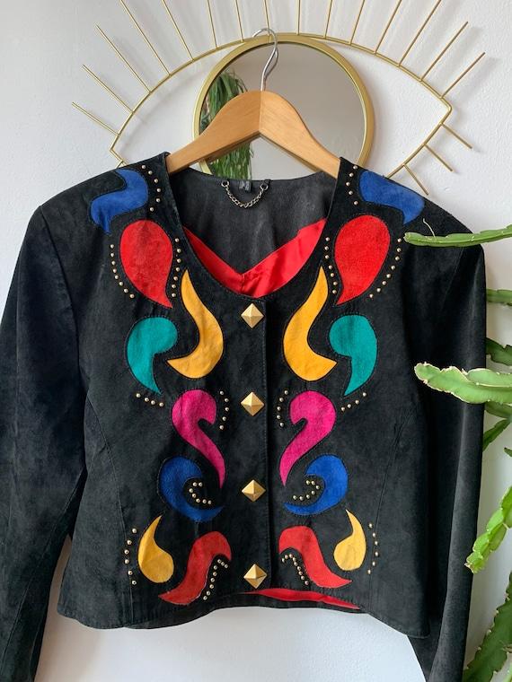 Vintage suède paisley 1980s Jacket