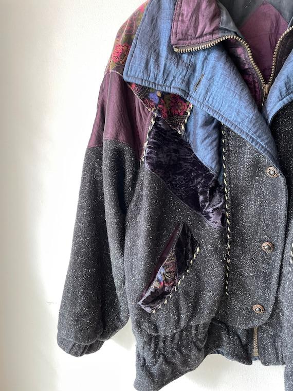 Vintage hipster velvet patchwork Jacket - image 2