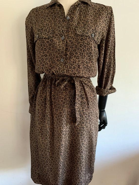 Vintage Leopard silk dress