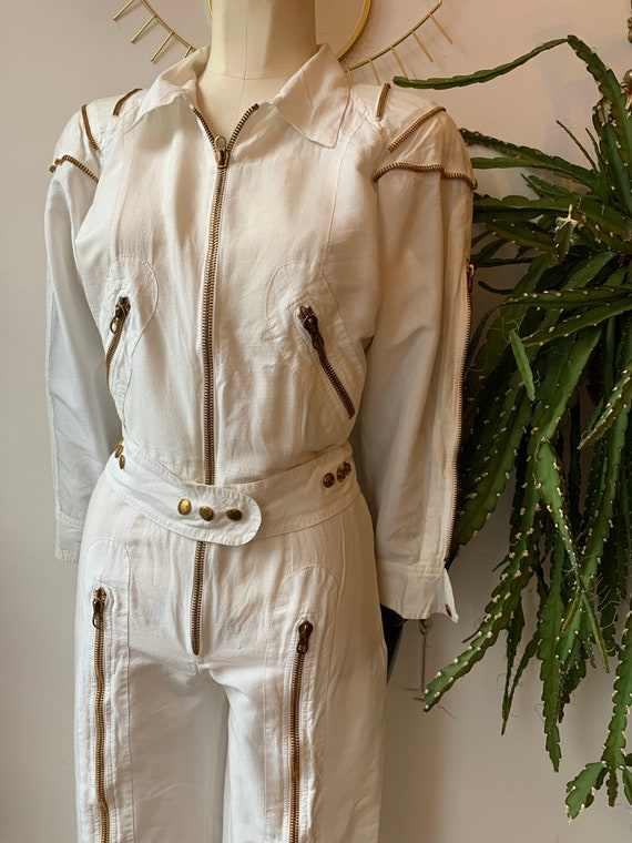 Vintage white zipper jumpsuit 1980s
