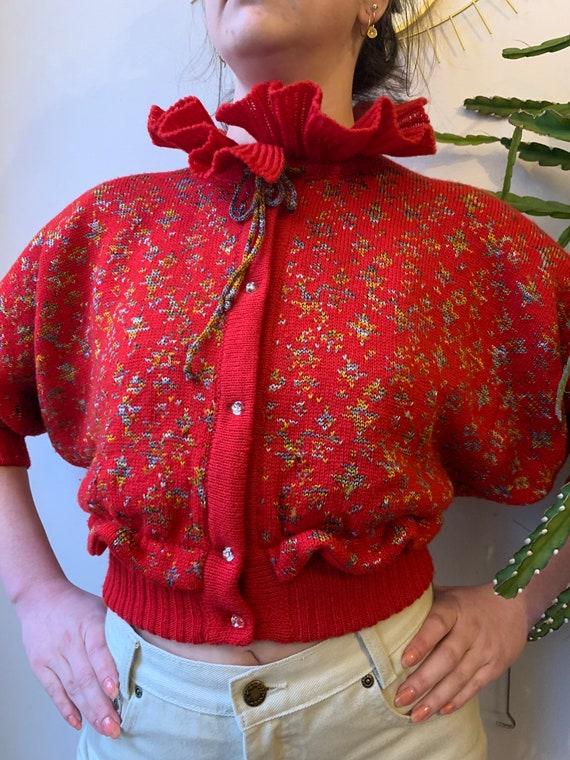Vintage red cropped cardigan