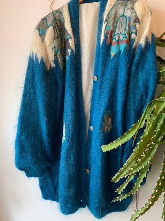 Vintage mohair Embroidered cardigan - image 9