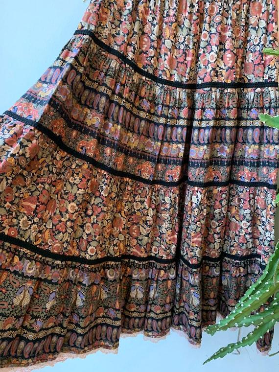 Vintage 70s Flower cotton skirt