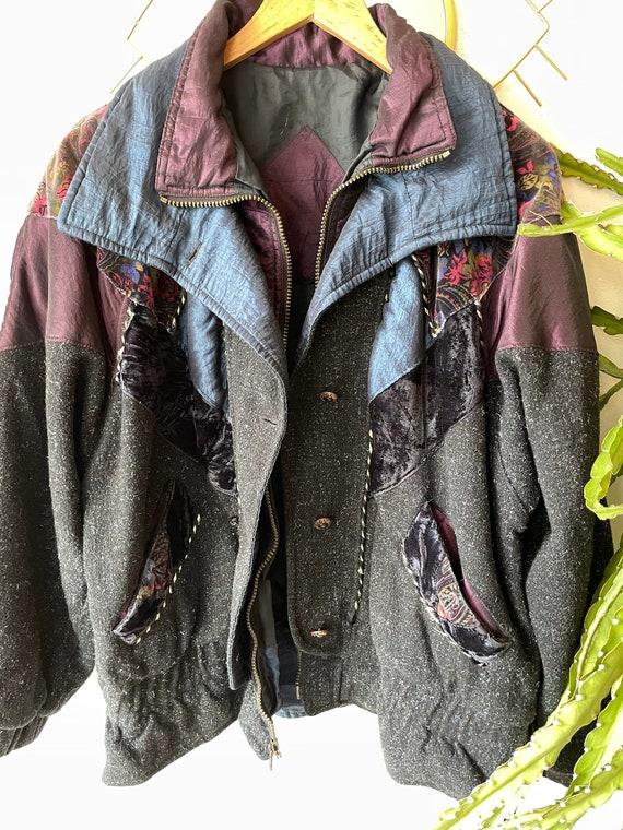 Vintage hipster velvet patchwork Jacket - image 6