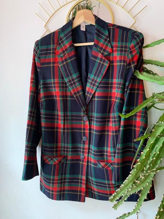 Vintage tartan oversized blazer - image 1