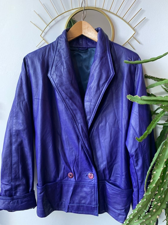 Vintage 80s Supersoft Purple Leather Jacket  Double Breasted  Oversized   Hipster  Rockstar  Festival