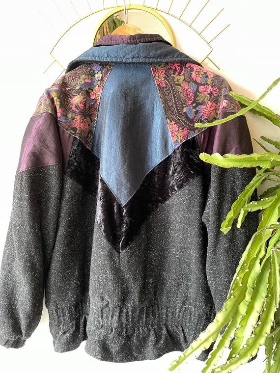 Vintage hipster velvet patchwork Jacket - image 3
