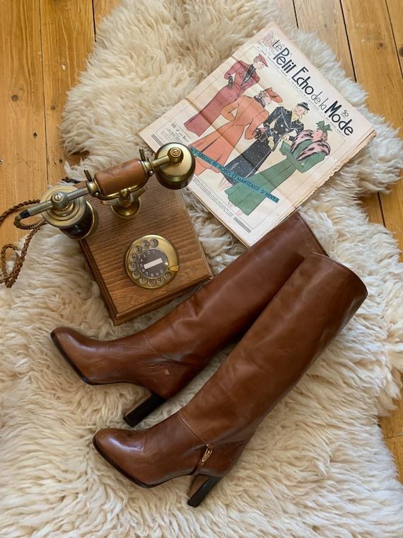 Vintage Leather long boots camel