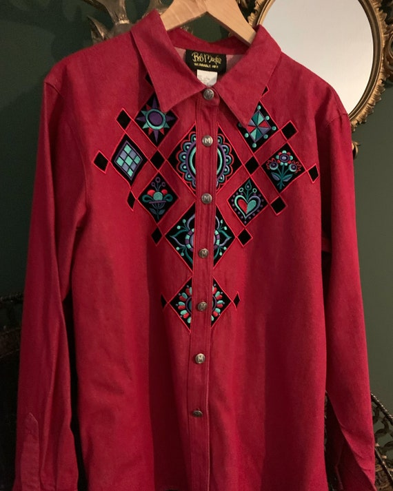 Vintage western Embroidered blouse - image 1