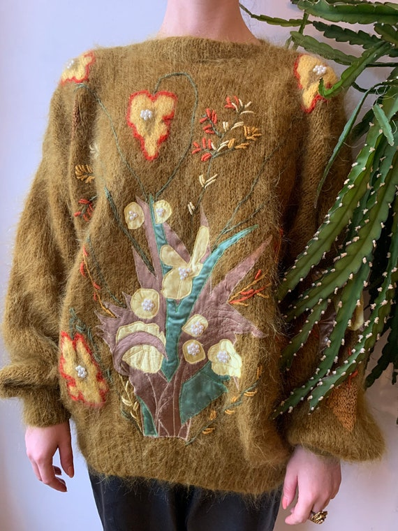Embroidered mohair oversized cardigan