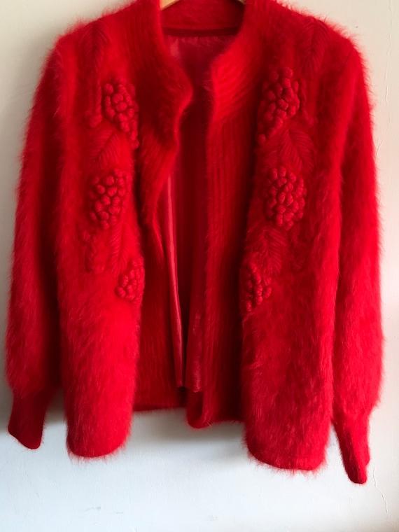 Vintage angora Embroidered cardigan