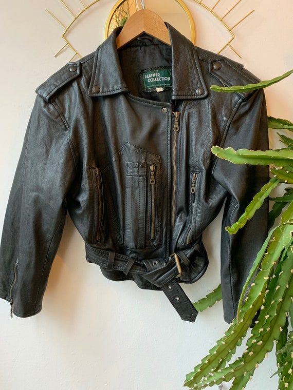 1980s short leather black jacket