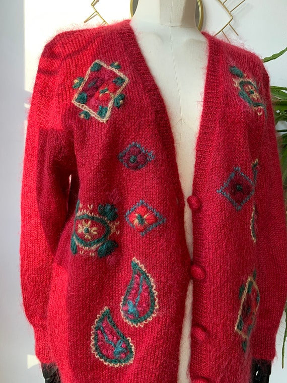 Mohair embroidered mohair cardigan
