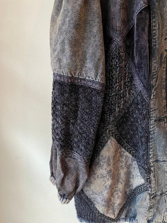 Vintage 1980s patchwork silk denim jacket - image 6