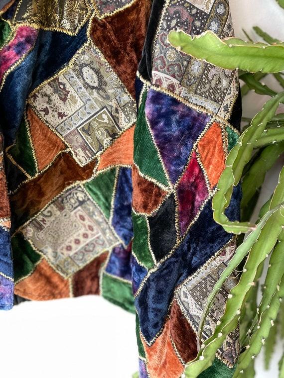 Vintage velvet patchwork 70s jacket - image 5