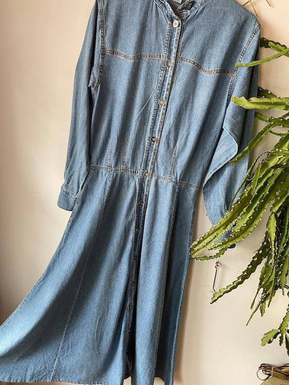 Vintage denim maxi Dress 80s - image 1