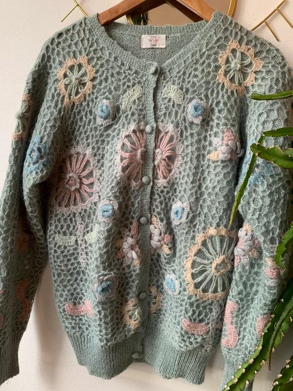 Vintage crochet flower cardigan