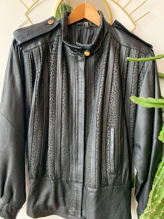 1980s leather leopard black jacket