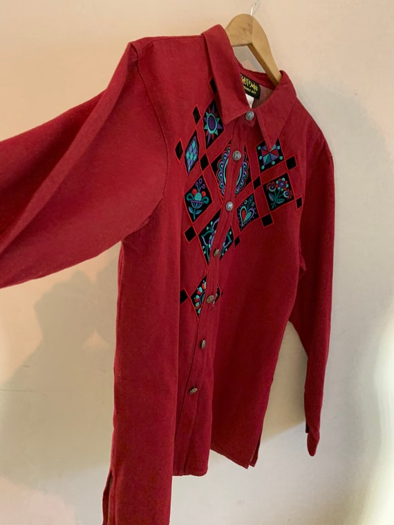 Vintage western Embroidered blouse - image 7