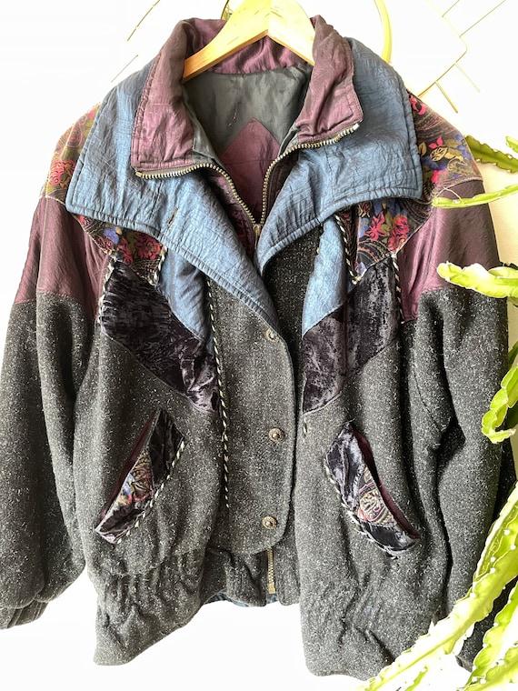Vintage hipster velvet patchwork Jacket - image 10