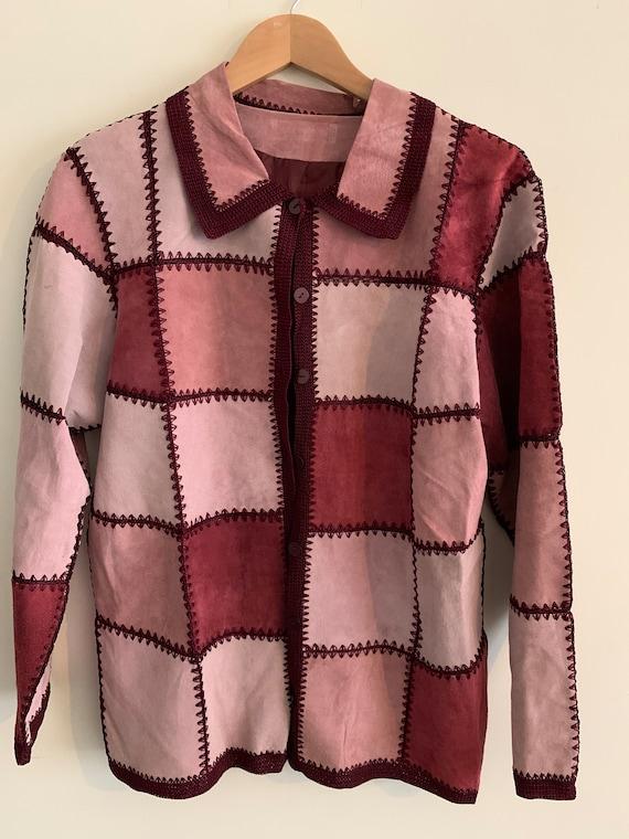 Vintage suède patchwork cardigan jacket
