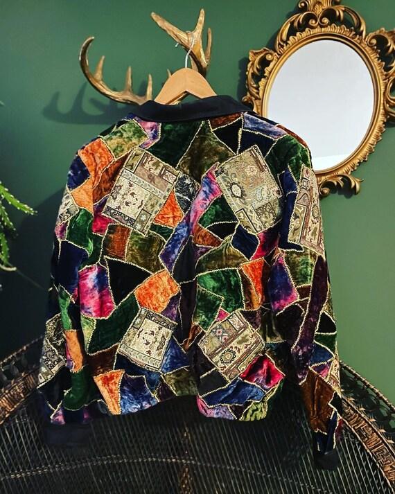 Vintage velvet patchwork 70s jacket - image 7