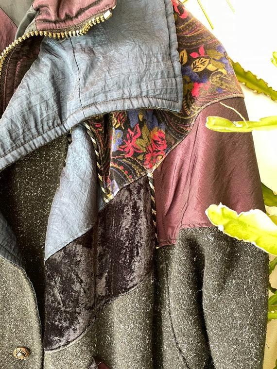 Vintage hipster velvet patchwork Jacket - image 7