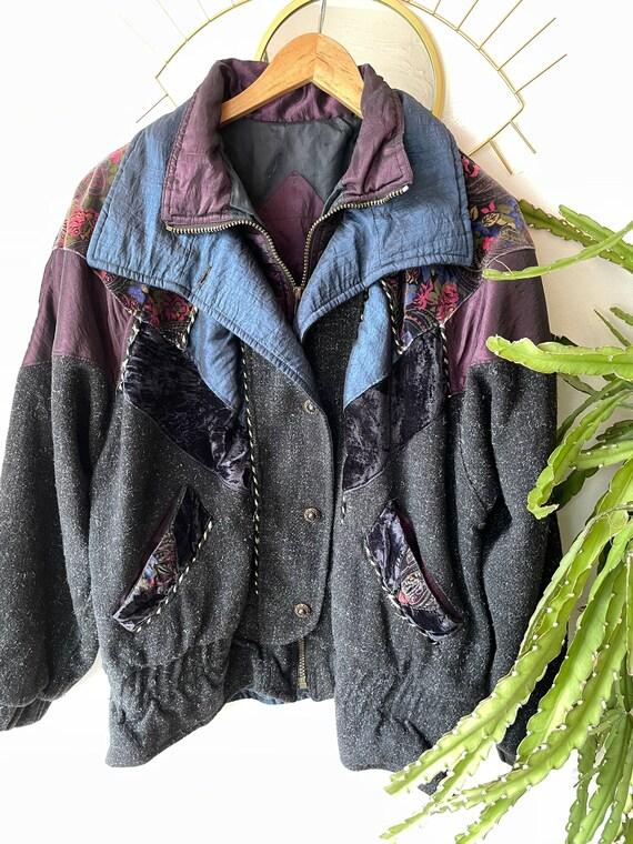Vintage hipster velvet patchwork Jacket - image 1