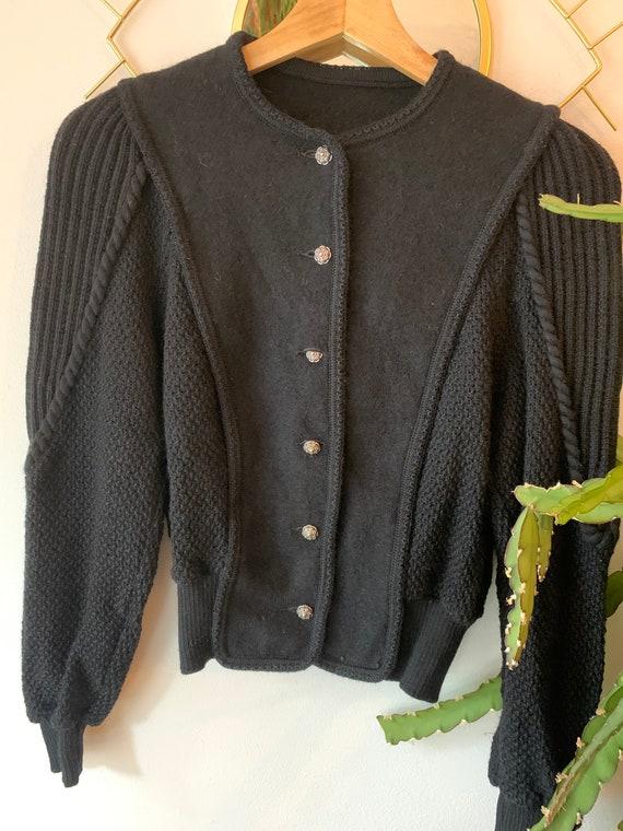Vintage black wool cardigan
