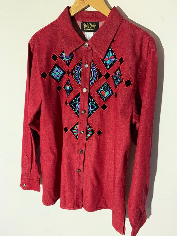Vintage western Embroidered blouse - image 3