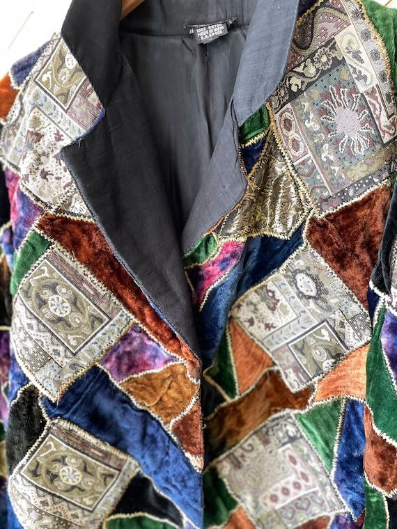 Vintage velvet patchwork 70s jacket - image 8