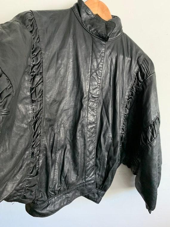 Vintage black leather ruffle jacket