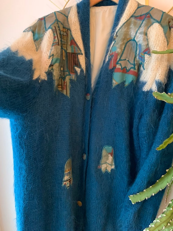 Vintage mohair Embroidered cardigan - image 7