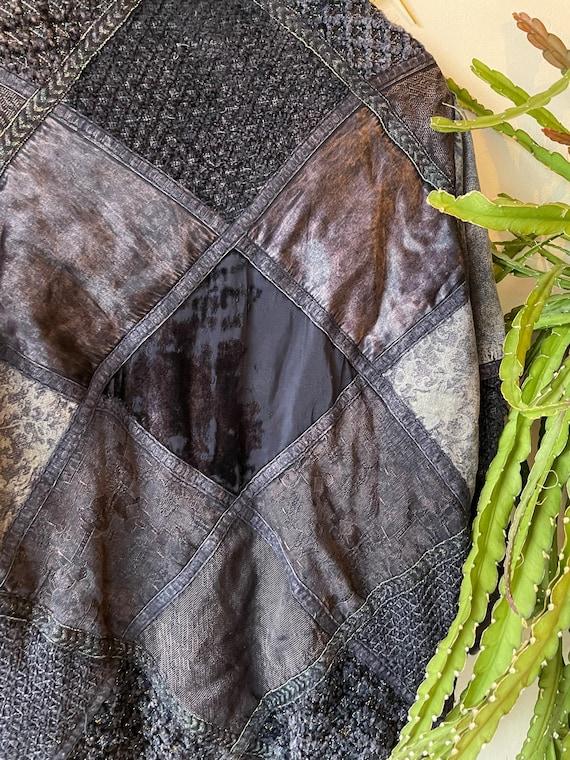 Vintage 1980s patchwork silk denim jacket - image 7