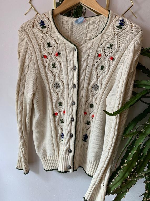 Vintage wool Embroidered cardigan