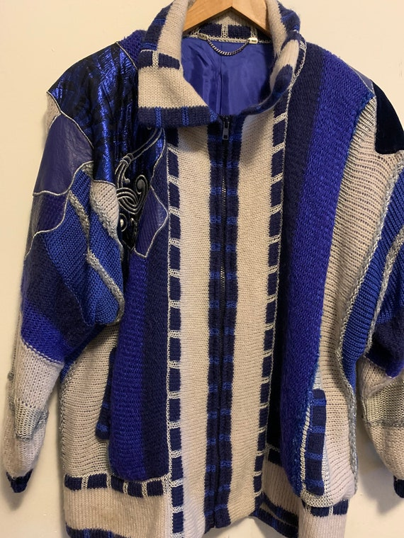 Vintage wool blue leather detail cardigan