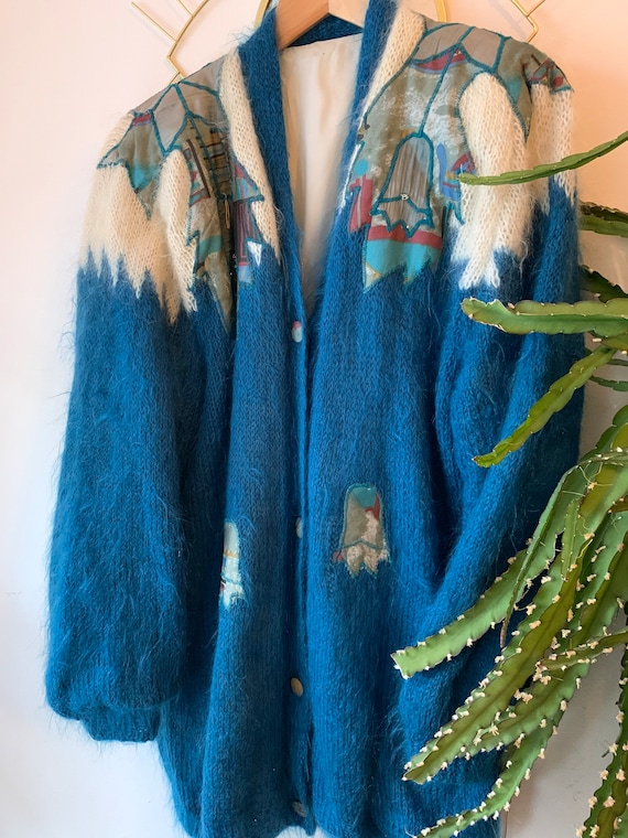 Vintage mohair Embroidered cardigan - image 1