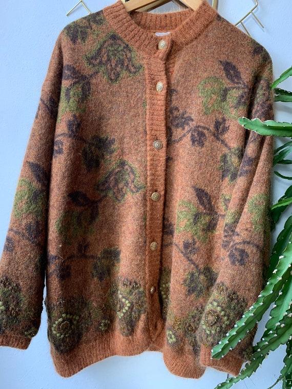 Vintage reversible mohair paisley cardigan