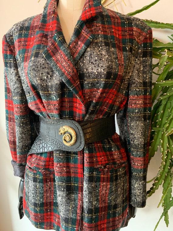 Vintage tartan wool blazer