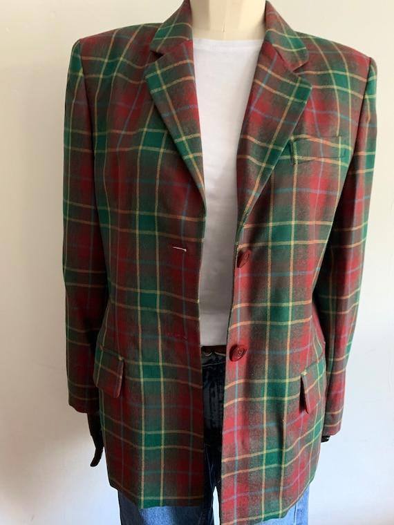 Vintage wool tartan blazer