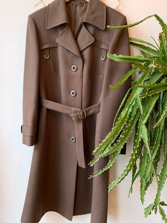 Vintage 1970s wool brown coat