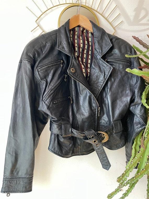 1980s black leather jacket