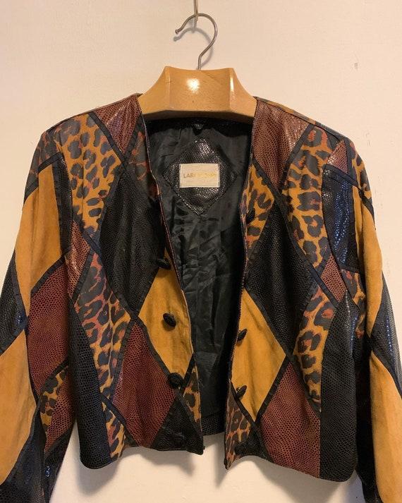 Vintage Leather patchwork leopard jacket