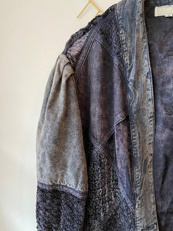 Vintage 1980s patchwork silk denim jacket - image 4
