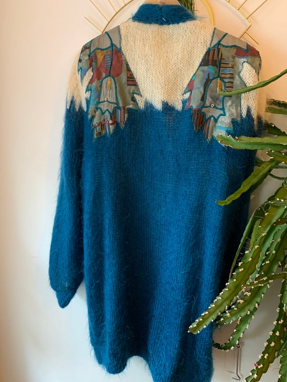 Vintage mohair Embroidered cardigan - image 2