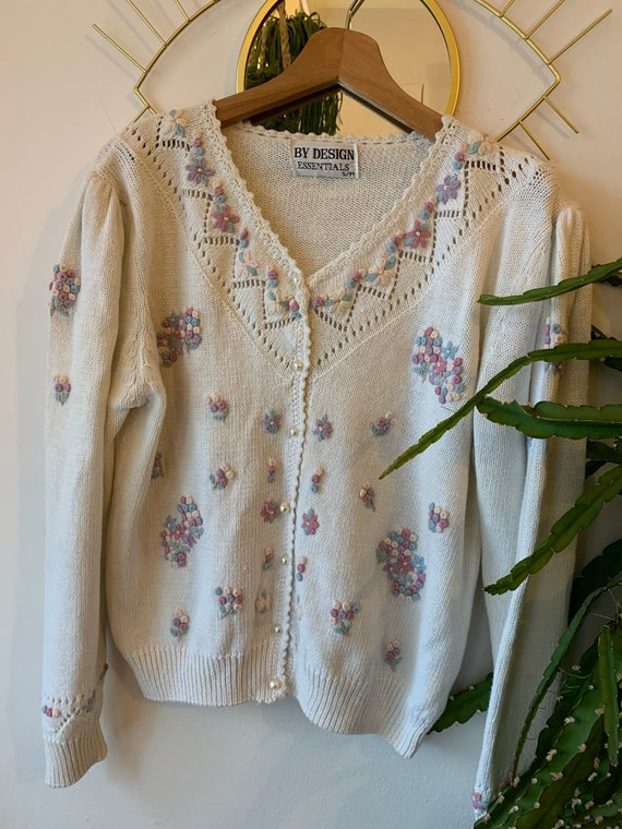 Vintage cotton mix embroidered cardigan