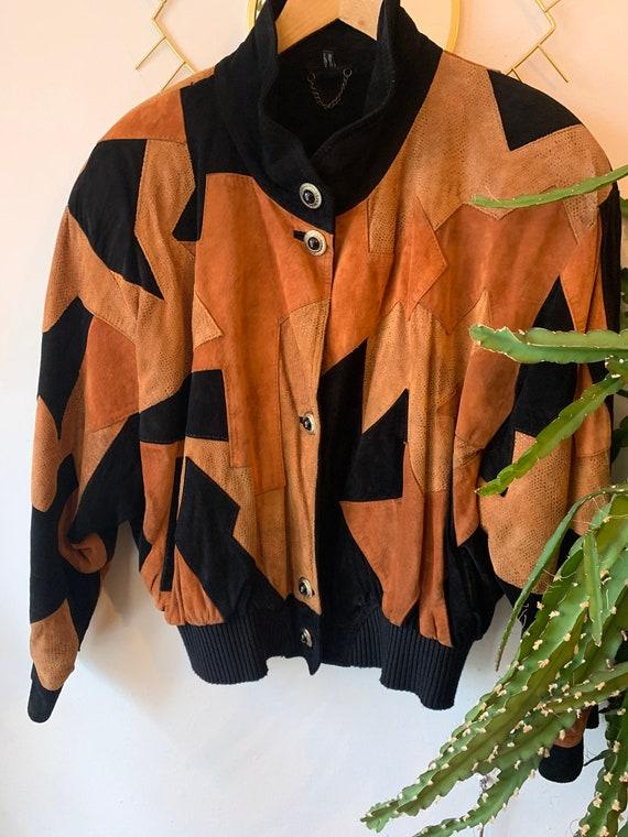 1980s patchwork suede jacket