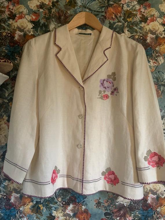 Vintage Laura Ashley Embroidered blazer