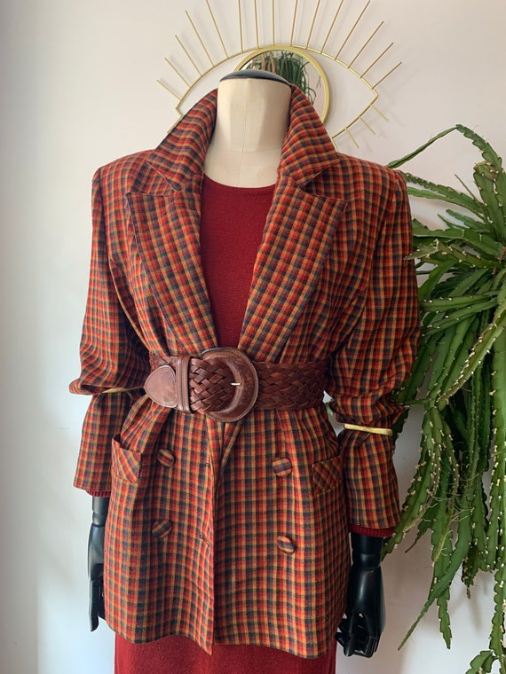 Vintage  oversized wool tartan blazer